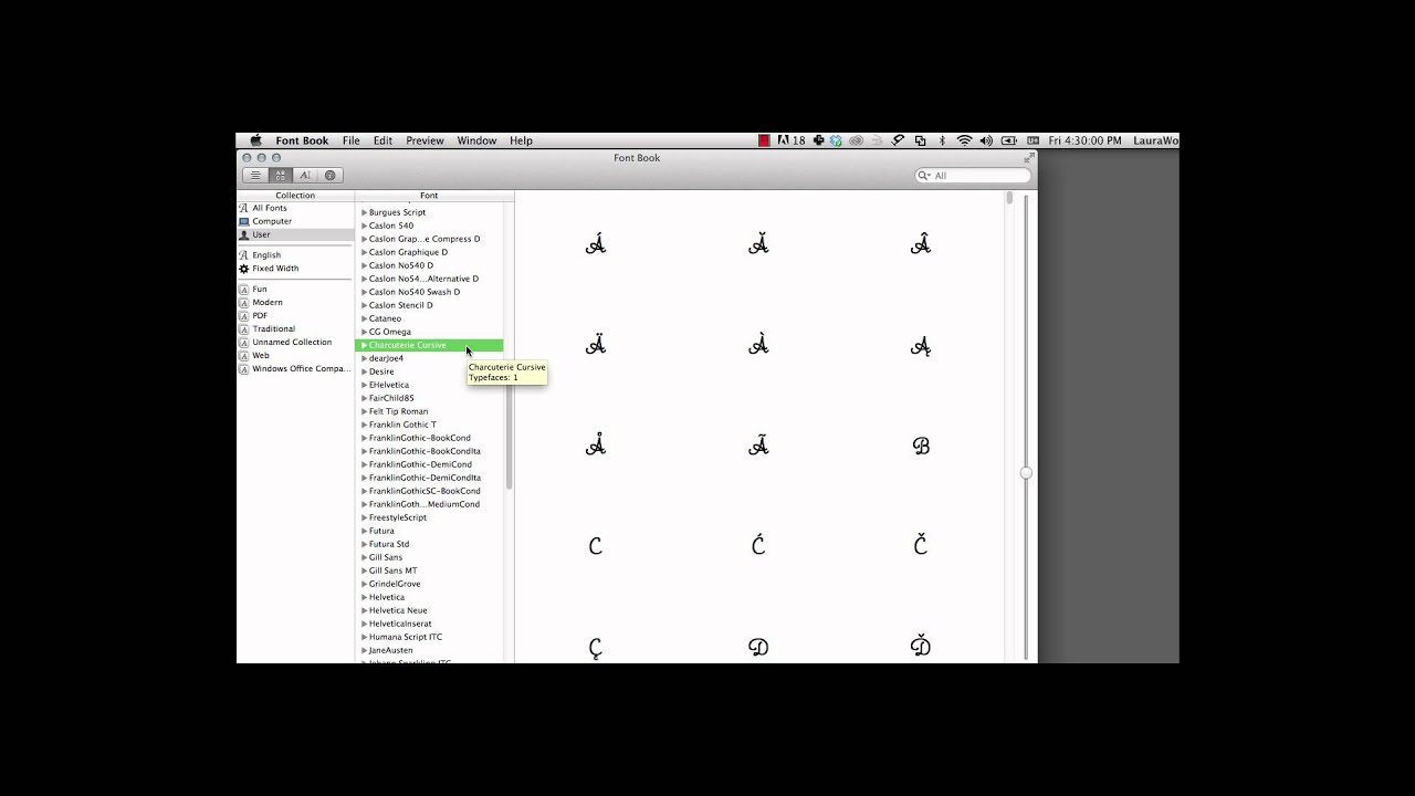 Mac Character Viewer