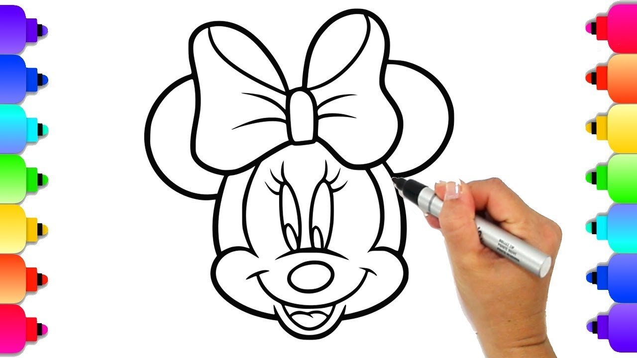 Minnie Mouse Coloring Page | Draw and Color Minnie Mouse with Markers and  Glitter | Easy for Kids