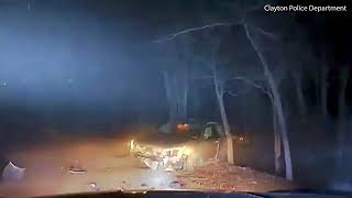 Maniac Fleeing Police is Shot after Crashing his Car after Chase and Lunging at Officer with Knife.