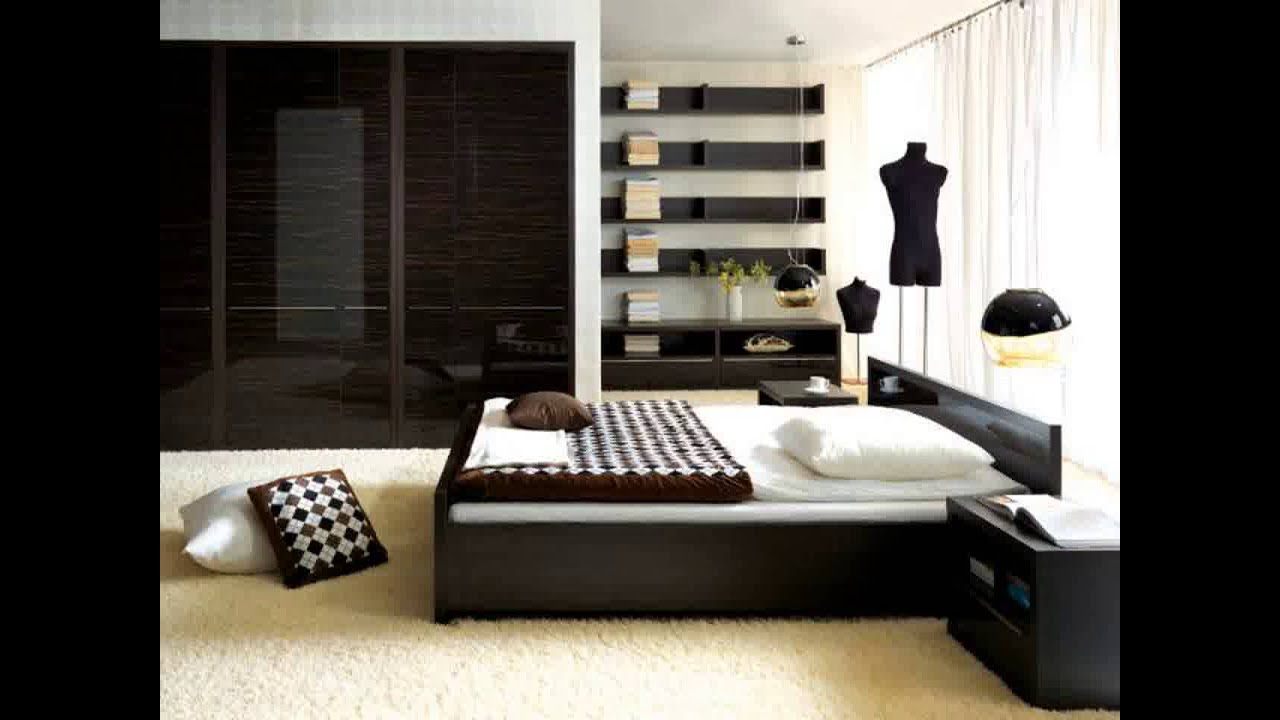 Bedroom design with dark brown furniture
