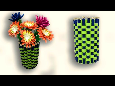 Diy a Flower vase making with paper | Paper Craft Flower Pot Decoration Ideas