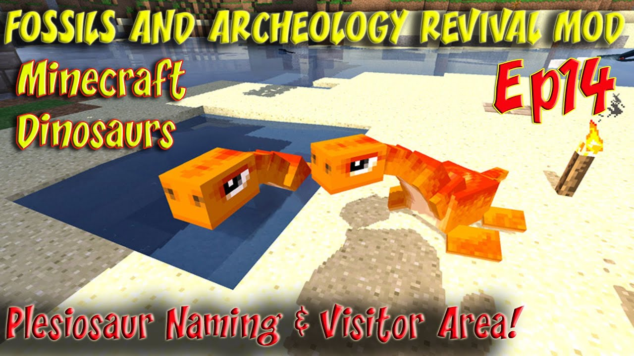 Fossils and Archeology Revival Mod Minecraft Jurassic World Ep14 Plesiosaur  Naming & Visitor Area by Smithy MC