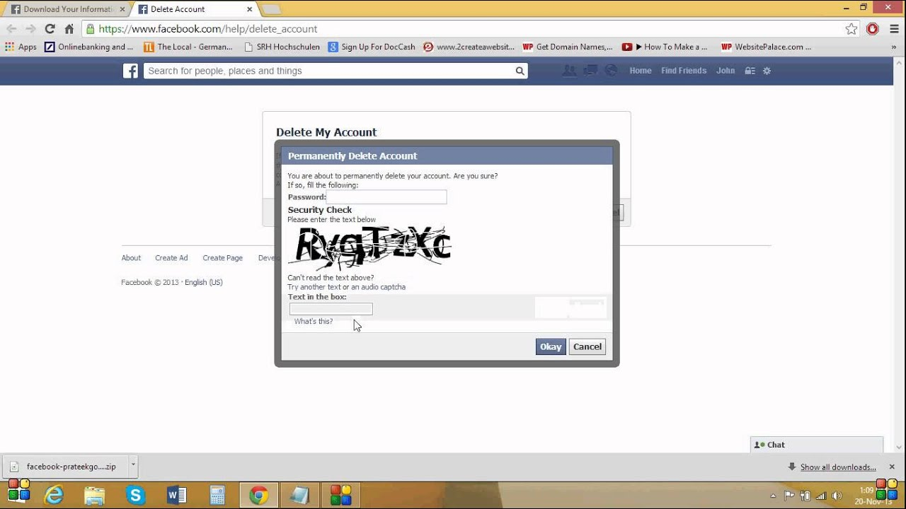 How To Delete Your Facebook Account Permanently2013 November 20161123 Edit  Facebook Fb Business Page