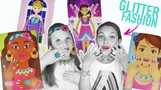 Glitter Fashion Faces and Party Dresses With Jewelry! Princess Sticker Face   Easy Kids Crafts