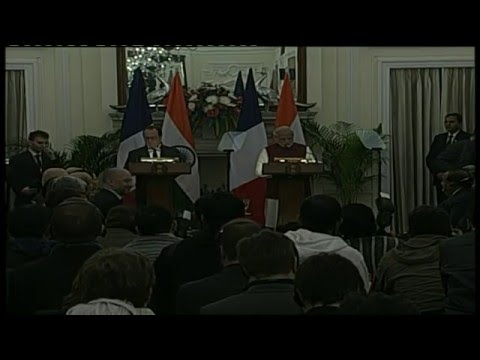 PM Modi at the Joint Press Statement with the President of France François Hollande in New Delhi