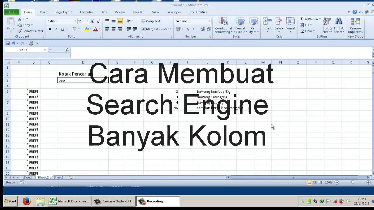 Membuat Form Pencarian Data Di Excel