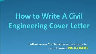 How To Write A Civil Engineering Cover Letter | Cover Letter For Civil Engineer