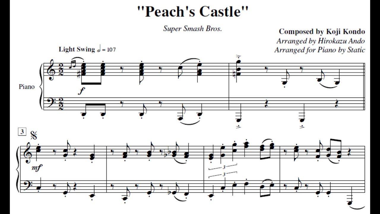 Peach S Castle Super Smash Bros Piano Sheet Music By Static