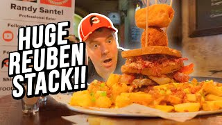 Massive Reuben Burger Challenge w/ Loaded Fries and Tater Tots!!