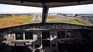 A320neo AUTOLAND! Cockpit Landing in Stockholm Arlanda Airport