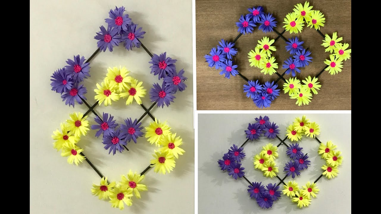 Paper flower wall hanging diy wall decoration ideas youtube paper flower wall hanging diy wall decoration ideas mightylinksfo