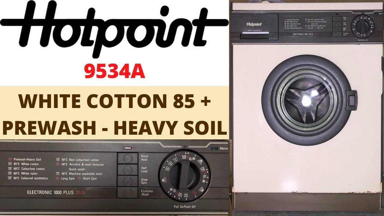 Stain Test - Hotpoint Electronic 1000 Plus 9534A - White Cotton 85°c + Prewash - Heavy Soil