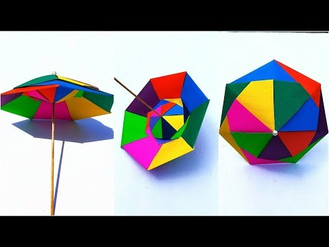 How to Make Colorful Paper Umbrella - Time Lapse || DIY