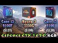 Core i3 9100F vs Ryzen 3 2200G vs Core i3 8100 | GeForce GTX 1650 4GB