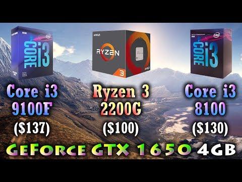 Core i3 9100F vs Ryzen 3 2200G vs Core i3 8100   GeForce GTX 1650 4GB
