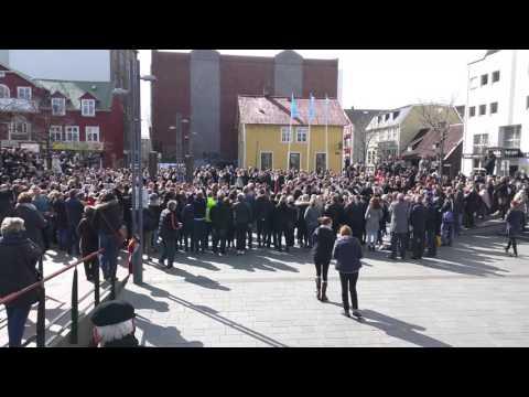 Reykjavik city plaza dance