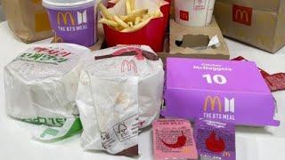 【韓国マクドナルド】日本未発売、話題のBTSミールセットとトリプルチーズバーガーセット、全部食べた!ちょっと大食いしたな【モッパン】