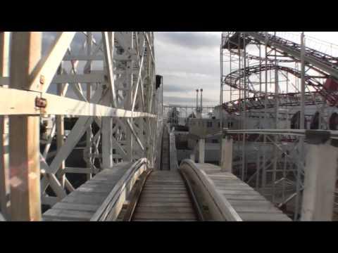 Scenic Railway Wooden Roller Coaster Front Seat POV Luna Park Melbourne Australia