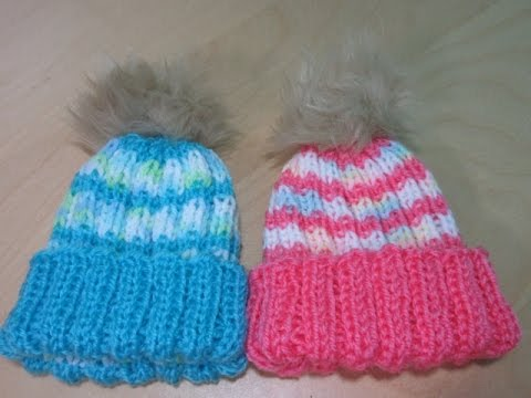 How to knit a newborn baby hat for beginners with straight needles ... a6751902de1f