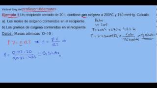 Ecuación de estado de los gases ideales ejercicio resuelto 1