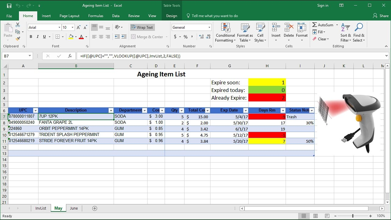 how to manage expired items in excel