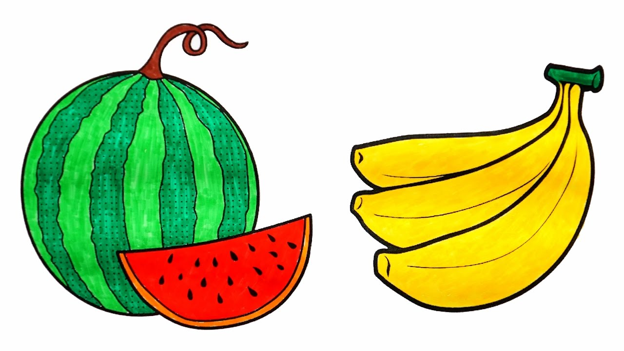 Coloring Watermelon and Banana | Coloring Fruits and Vegetables ...
