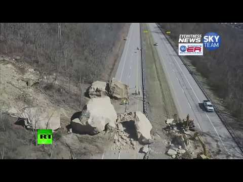 Stone the crows! Giant boulders block highway in Ohio, US