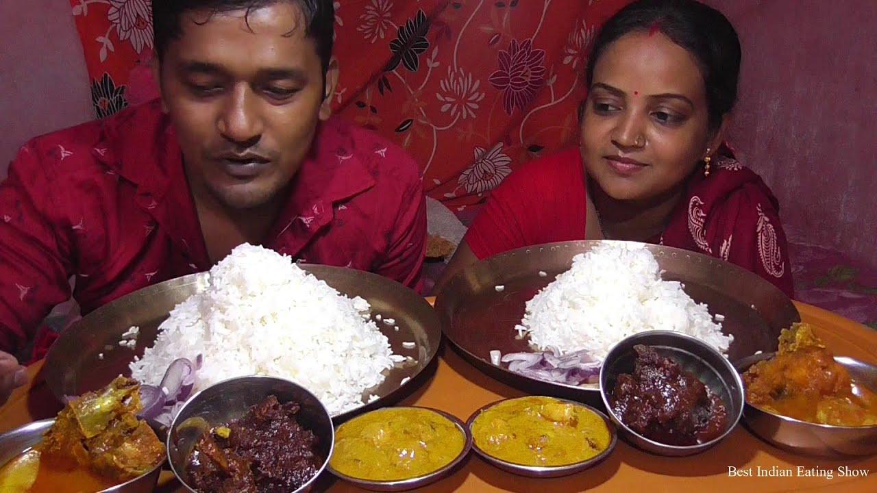 Husband Wife Lunch Today - Mutton Korma - Chingri ( Prawn ) Malaikari - Katla Fish Curry