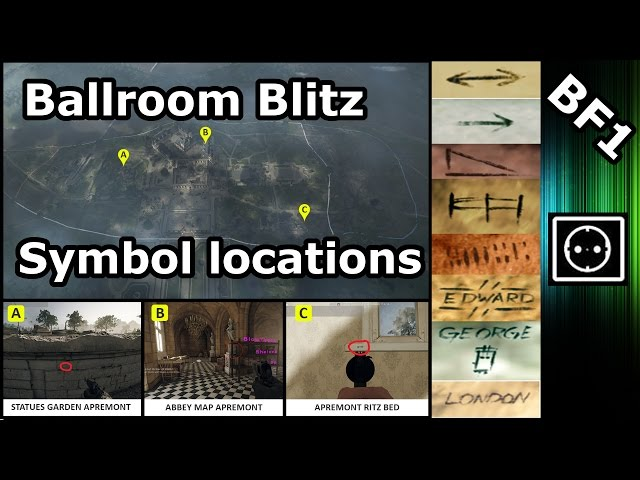 BF1 : Ballroom Blitz Symbol locations | Marconi Easter Egg, Dog Tag