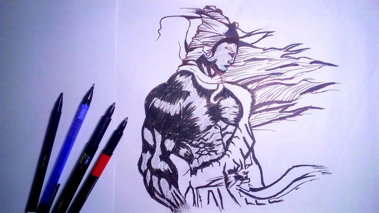 How to draw mahadev pencil art mahadev whatsapp status lord shiva