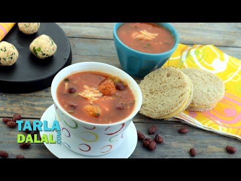 Mexican Tomato Soup with Cottage Cheese Balls by Tarla Dalal