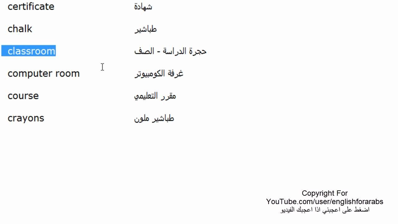 اسماء مفردات المدرسة باللغة الانجليزية الجزء 1 Youtube