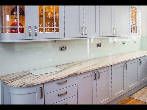 Classic Shaker Kitchen   Pale Duck Egg Glass Splashback