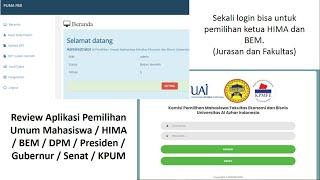 Review Aplikasi Pemilihan Umum Mahasiswa / HIMA / BEM / DPM / Presiden / Gubernur / Senat / KPUM