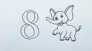 how to draw number 8 and elephants | Smart Baby