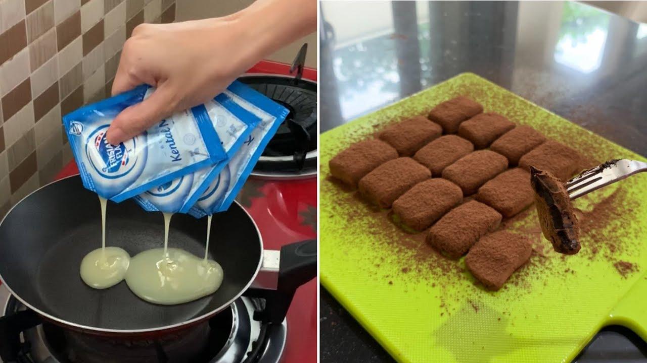 2 Bahan Aja Camilan Coklat Ini Enakkkk Banget Condensed Milk Chocolate Truffles Youtube