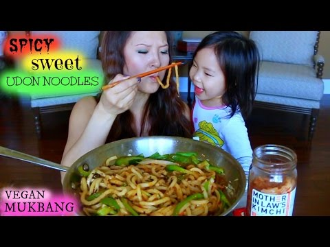 STIR FRIED UDON NOODLES • VEGAN Mukbang & Recipe