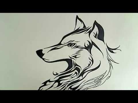 Рисуем волка в стиль огненная татуировка