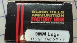 Black Hills Ammo Barnes Tac XP 115 grain 9mm Luger +P Ballistic Gel Test