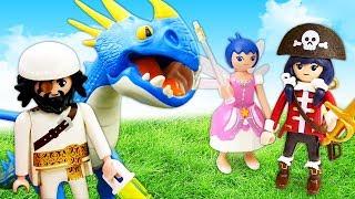 Видео про игрушки из мультфильмов. Приключения Супер 4! Пират Акулья Борода и Дракон!