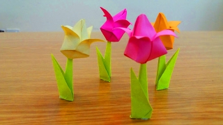 How To Make a Tulip Paper Flower | Home Made Diy Origami Flowers