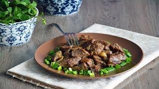 Жареная говядина на сковороде