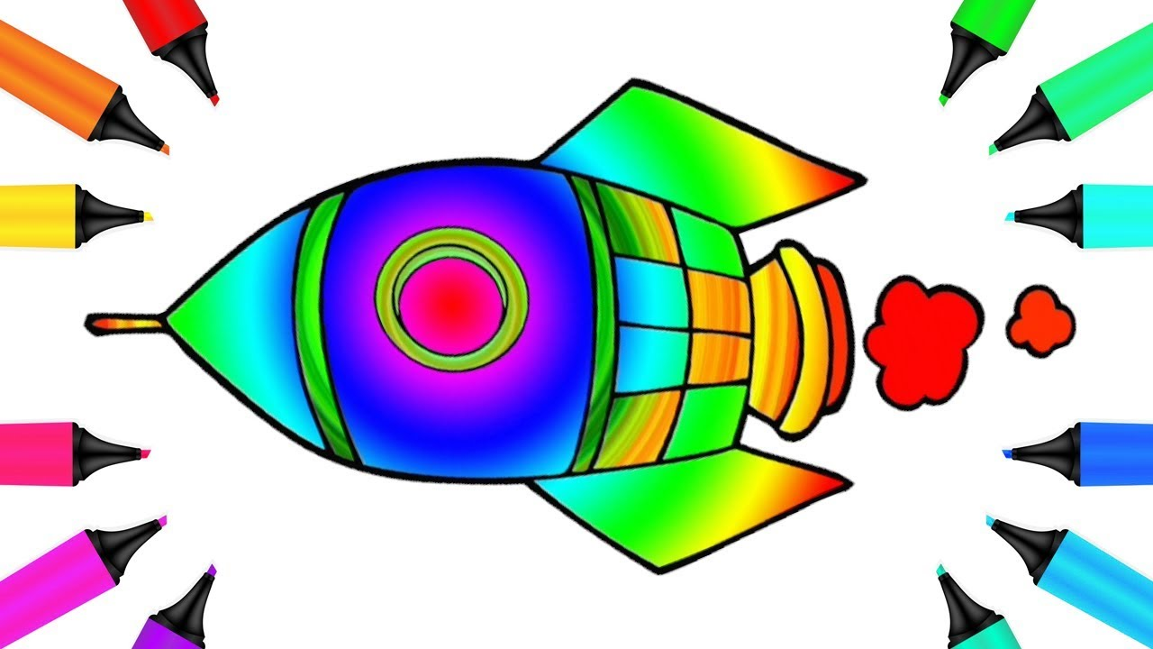 Rocket Space Ship Drawing and Coloring Page with a Rainbow Marker