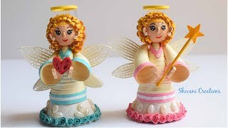 Quilling Angels/ How to make Angels for Christmas Decorion/ 3D Quilled Dolls
