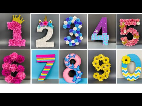 How to make 3D 0 to 9  Decorative Numbers for kids party celebration