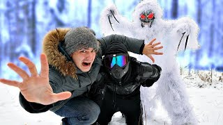 Мы пробрались в лес монстров, чтобы спасти Прыгуна от снежного монстра