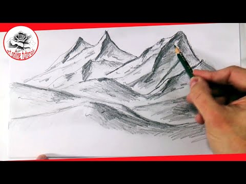 How To Draw Realistic Mountains With Pencil, Step By Step And Easy : Drawing The Easy Way