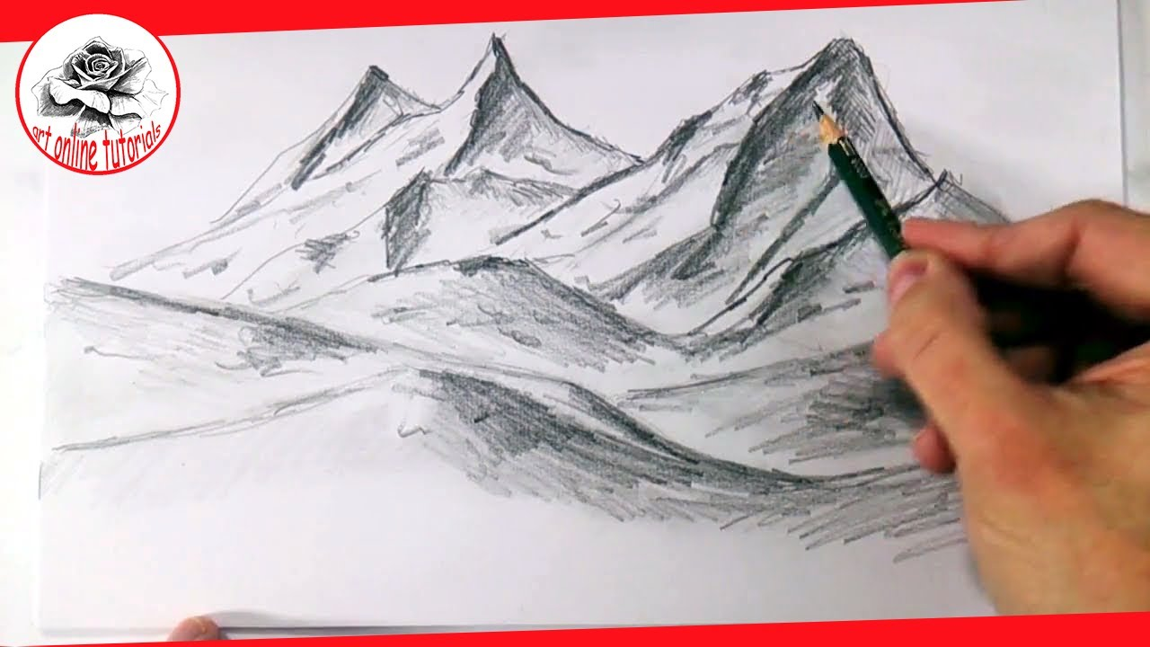 How To Draw Realistic Mountains With Pencil Step By Step And Easy