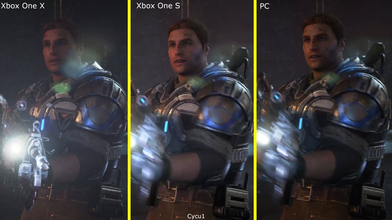 gears of war 4 xbox one x vs xbox one s vs pc 4k early