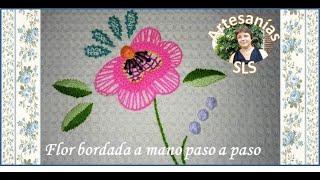 Bordado a mano paso a paso ♥ Flor ♥ Principiantes ♥